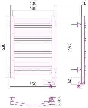 Полотенцесушитель электрический Сунержа Аркус 2.0 600х400