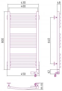 Полотенцесушитель электрический Сунержа Аркус 2.0 800х400