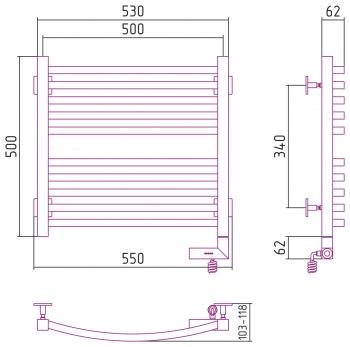 Полотенцесушитель электрический Сунержа Аркус 2.0 500х500