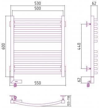 Полотенцесушитель электрический Сунержа Аркус 2.0 600х500