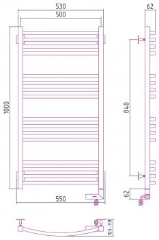 Полотенцесушитель электрический Сунержа Аркус 2.0 1000х500