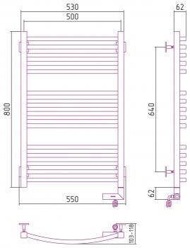 Полотенцесушитель электрический Сунержа Аркус 2.0 800х600