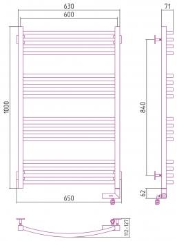 Полотенцесушитель электрический Сунержа Аркус 2.0 1000х600