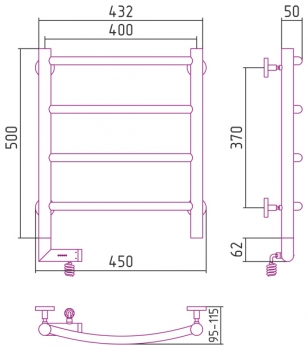Полотенцесушитель электрический Сунержа Галант 2.0 500х400