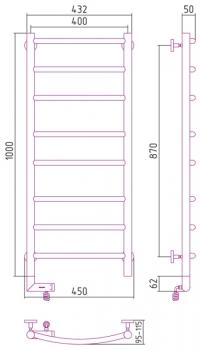 Полотенцесушитель электрический Сунержа Галант 2.0 1000х400