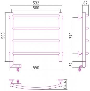 Полотенцесушитель электрический Сунержа Галант 2.0 500х500