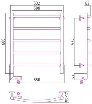 Полотенцесушитель электрический Сунержа Галант 2.0 600х500