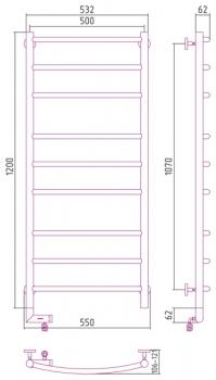 Полотенцесушитель электрический Сунержа Галант 2.0 1200х500