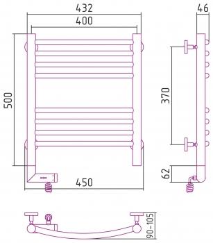 Полотенцесушитель электрический Сунержа Богема 2.0 выгнутая 500х400