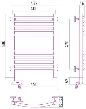 Полотенцесушитель электрический Сунержа Богема 2.0 выгнутая 600х400