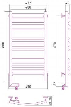 Полотенцесушитель электрический Сунержа Богема 2.0 выгнутая 800х400