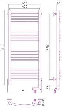 Полотенцесушитель электрический Сунержа Богема 2.0 выгнутая 1000х400