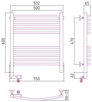 Полотенцесушитель электрический Сунержа Богема 2.0 выгнутая 600х500