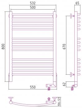Полотенцесушитель электрический Сунержа Богема 2.0 выгнутая 800х500