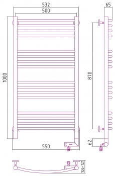 Полотенцесушитель электрический Сунержа Богема 2.0 выгнутая 1000х500