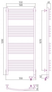 Полотенцесушитель электрический Сунержа Богема 2.0 выгнутая 1200х500