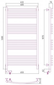 Полотенцесушитель электрический Сунержа Богема 2.0 выгнутая 1200х600