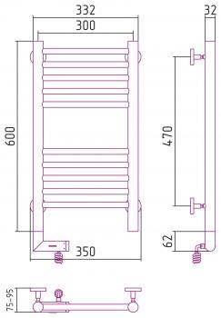 Полотенцесушитель электрический Сунержа Богема 2.0 прямая 600х300