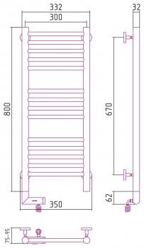 Полотенцесушитель электрический Сунержа Богема 2.0 прямая 800х300