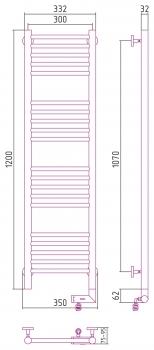 Полотенцесушитель электрический Сунержа Богема 2.0 прямая 1200х300