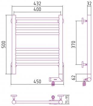 Полотенцесушитель электрический Сунержа Богема 2.0 прямая 500х400