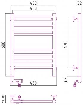 Полотенцесушитель электрический Сунержа Богема 2.0 прямая 600х400