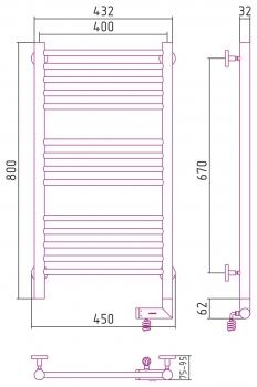 Полотенцесушитель электрический Сунержа Богема 2.0 прямая 800х400