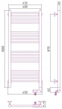 Полотенцесушитель электрический Сунержа Богема 2.0 прямая 1000х400