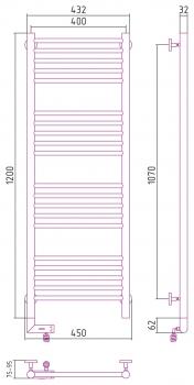 Полотенцесушитель электрический Сунержа Богема 2.0 прямая 1200х400
