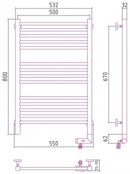 Полотенцесушитель электрический Сунержа Богема 2.0 прямая 800х500