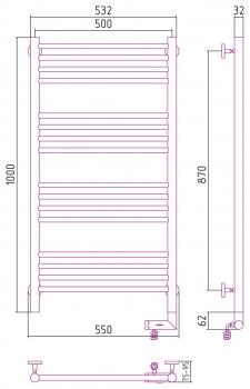 Полотенцесушитель электрический Сунержа Богема 2.0 прямая 1000х500