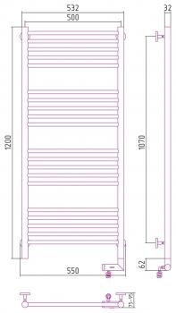 Полотенцесушитель электрический Сунержа Богема 2.0 прямая 1200х500