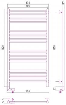 Полотенцесушитель электрический Сунержа Богема 2.0 прямая 1200х600