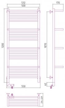 Полотенцесушитель электрический Сунержа Богема +4 полки 2.0 1200х500