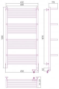 Полотенцесушитель электрический Сунержа Богема +4 полки 2.0 1200х600