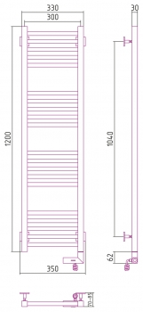 Полотенцесушитель электрический Сунержа Модус 2.0 1200х300