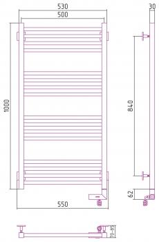 Полотенцесушитель электрический Сунержа Модус 2.0 1000х500