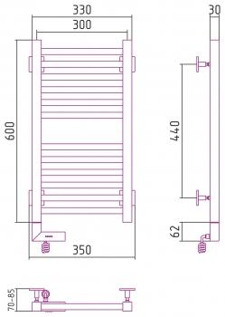 Полотенцесушитель электрический Сунержа Модус 2.0 600х300