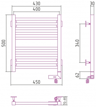 Полотенцесушитель электрический Сунержа Модус 2.0 500х400