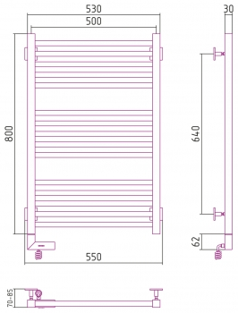 Полотенцесушитель электрический Сунержа Модус 2.0 800х500