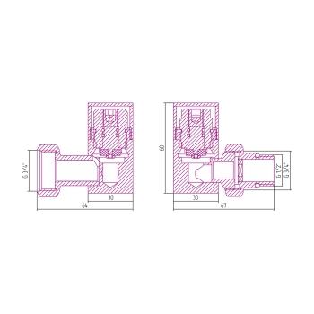 Вентиль 3D левый Сунержа под шестигранник G 1/2