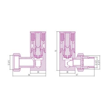 Вентиль 3D левый Сунержа цилиндр G 1/2