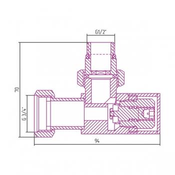 Вентиль угловой Сунержа под шестигранник G 1/2