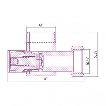 Вентиль угловой Сунержа под шестигранник G 1