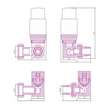 Терморегулятор автоматический 3D левый Сунержа G 1/2