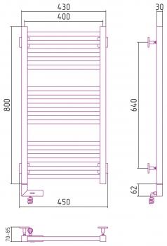 Полотенцесушитель электрический Сунержа Модус 2.0 800х400