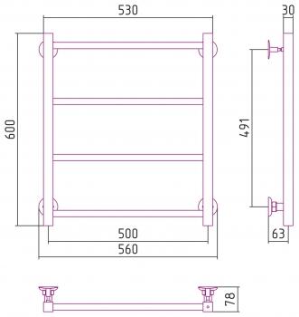 Полотенцесушитель водяной Стилье Версия-КН 600х500 00640-6050