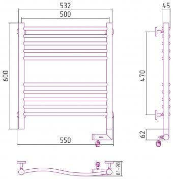 Полотенцесушитель электрический Сунержа Флюид 2.0 600х500