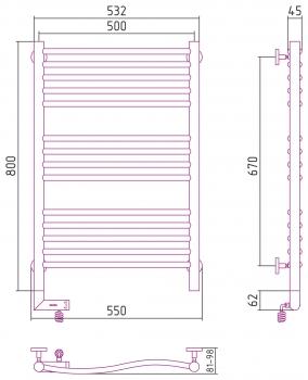 Полотенцесушитель электрический Сунержа Флюид 2.0 800х500