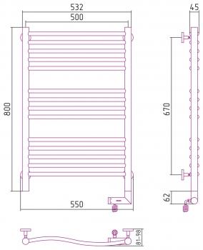 Полотенцесушитель электрический Сунержа Флюид 2.0 1000х500